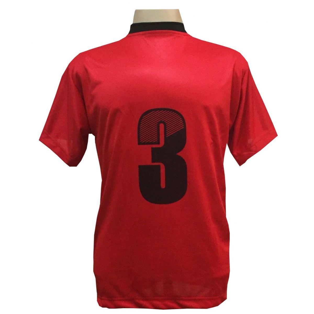 Uniforme Esportivo com 18 Camisas modelo Roma Vermelho/Preto + 18 Calções modelo Copa Preto/Vermelho