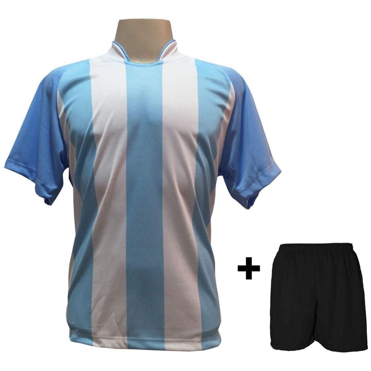 Uniforme Esportivo com 20 Camisas modelo Milan Celeste/Branco + 20 Calções modelo Madrid Preto