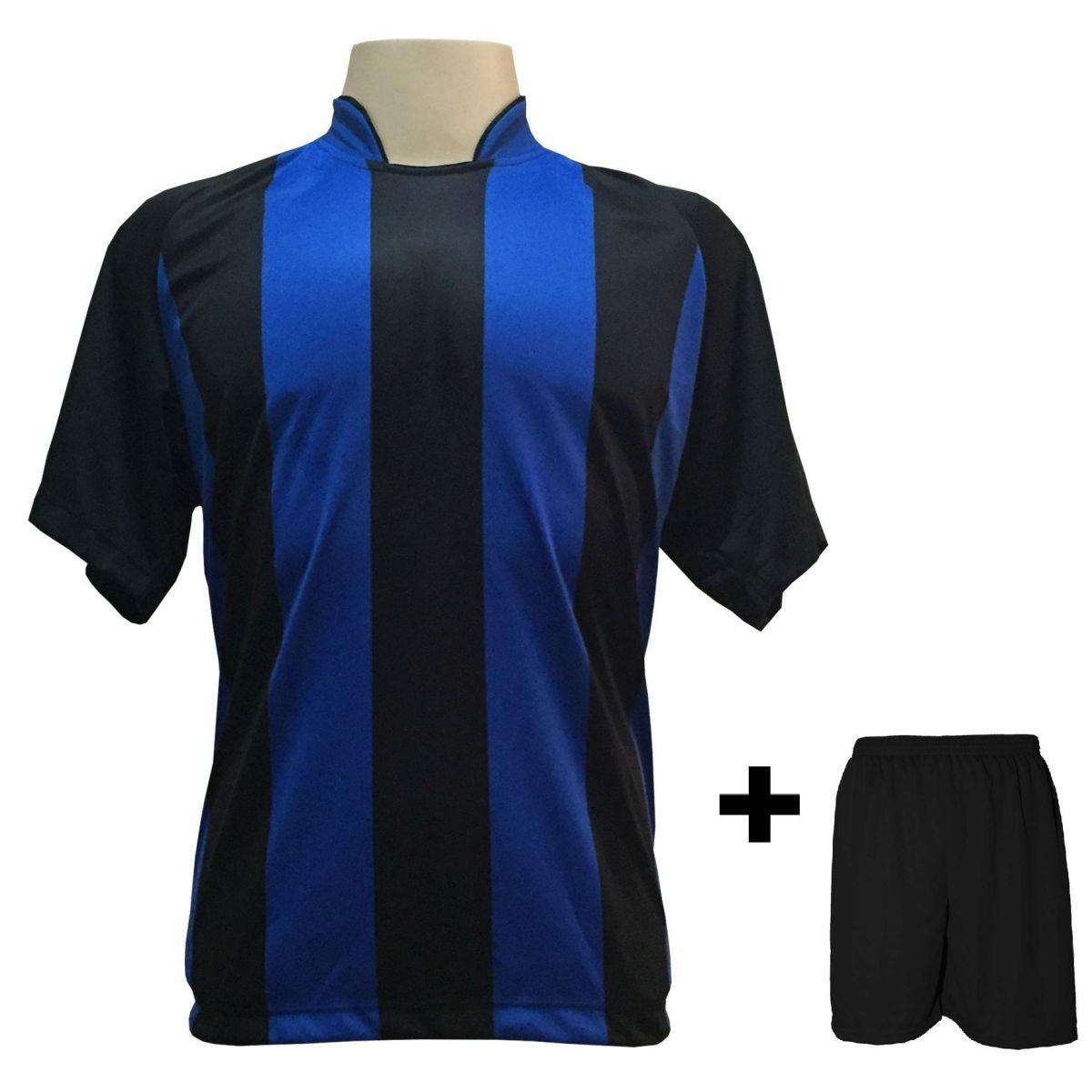 Uniforme Esportivo com 20 Camisas modelo Milan Preto/Royal + 20 Calções modelo Madrid Preto
