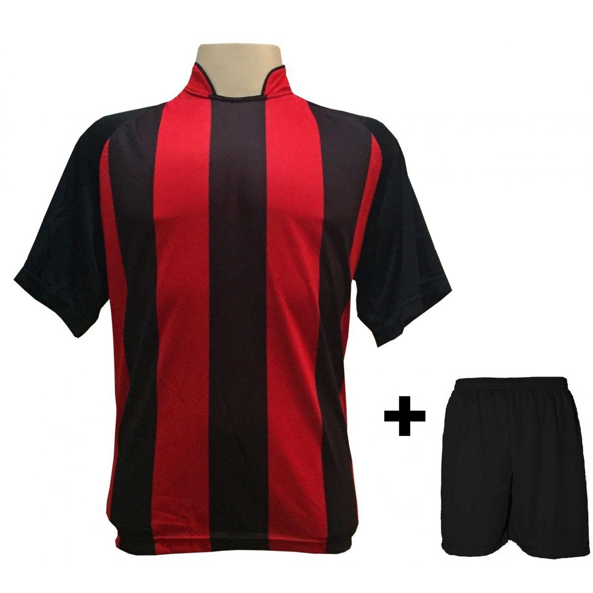 Uniforme Esportivo com 20 Camisas modelo Milan Preto Vermelho + 20 Calções  modelo Madrid Preto ... b5c63e6c1e436