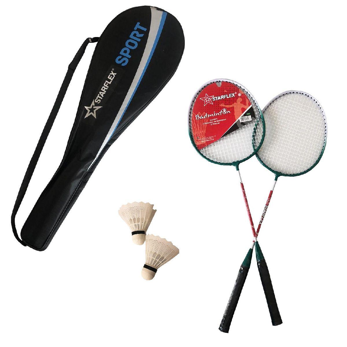 Kit Badminton Starflex 2 Raquetes e 2 Petecas com Raqueteira