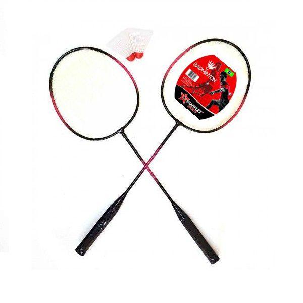 Kit Badminton Starflex Sports 2 Raquetes e 2 Petecas