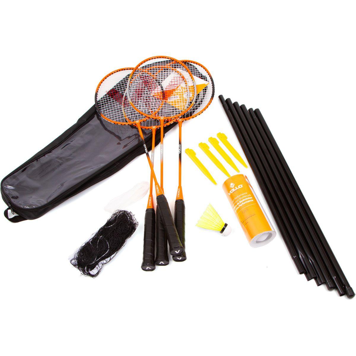 Kit Badminton Vollo 4 Raquetes 3 petecas com Rede e Suporte