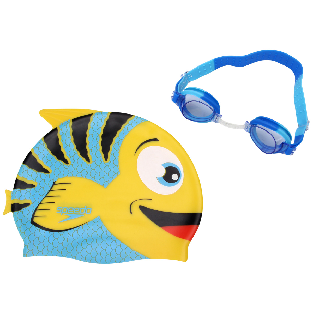 42529295a Kit Infantil Óculos + Touca Fish Combo Azul - Speedo