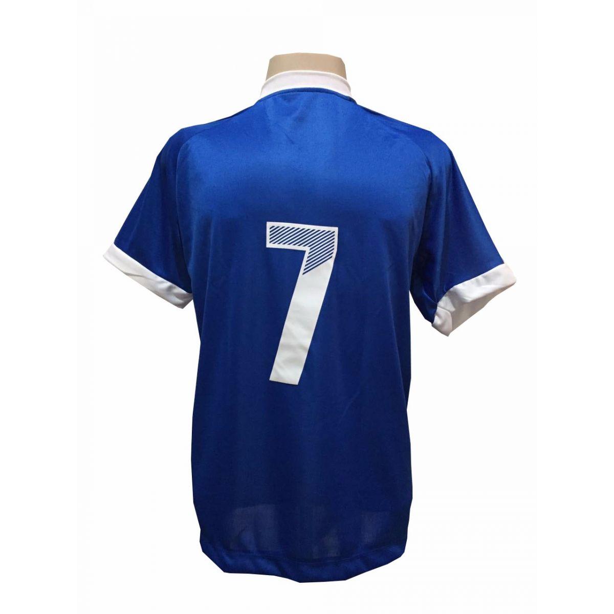 Uniforme Esportivo com 20 Camisas modelo Bélgica Royal/Branco + 20 Calções modelo Madrid Royal