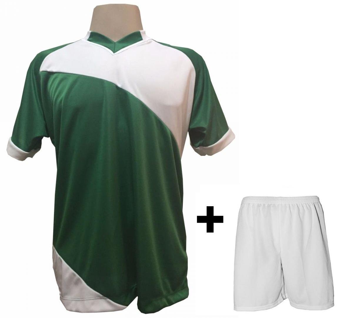 Uniforme Esportivo com 20 Camisas modelo Bélgica Verde/Branco + 20 Calções modelo Madrid Branco   - ESTAÇÃO DO ESPORTE