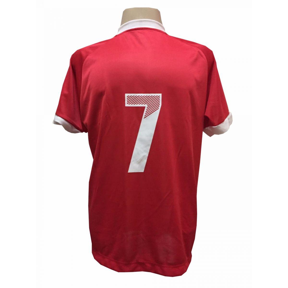 Uniforme Esportivo com 20 Camisas modelo Bélgica Vermelho/Branco + 20 Calções modelo Madrid Branco