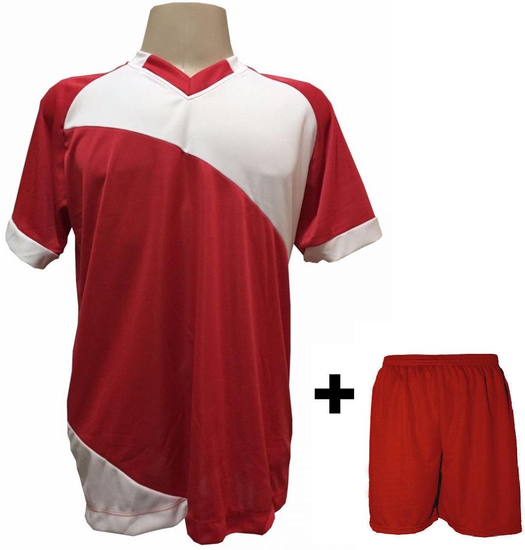Uniforme Esportivo com 20 Camisas modelo Bélgica Vermelho/Branco + 20 Calções modelo Madrid Vermelho