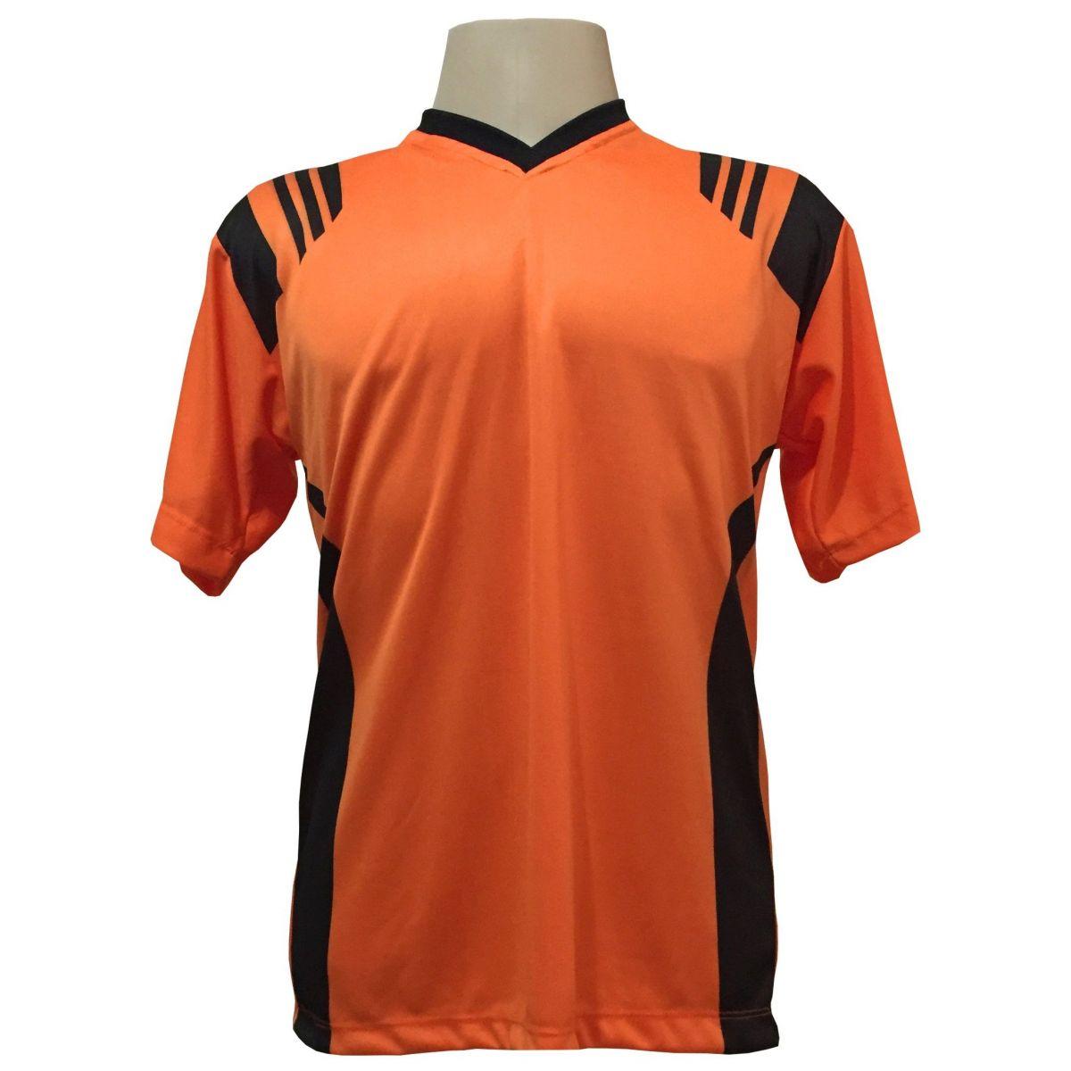 Uniforme Esportivo com 12 Camisas modelo Roma Laranja/Preto + 12 Calções modelo Madrid Preto + 12 Pares de meiões Preto