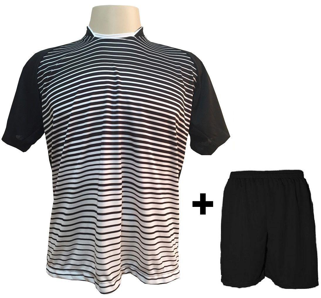 Uniforme Esportivo com 12 Camisas modelo City Preto/Branco + 12 Calções modelo Madrid Preto