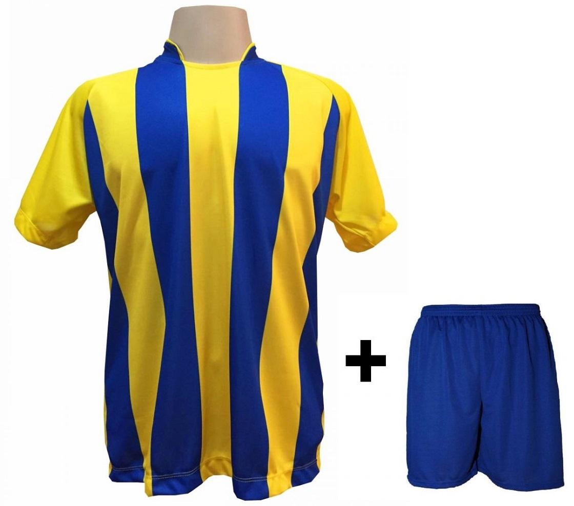 Uniforme Esportivo com 12 Camisas modelo Milan Amarelo/Royal + 12 Calções modelo Madrid Royal