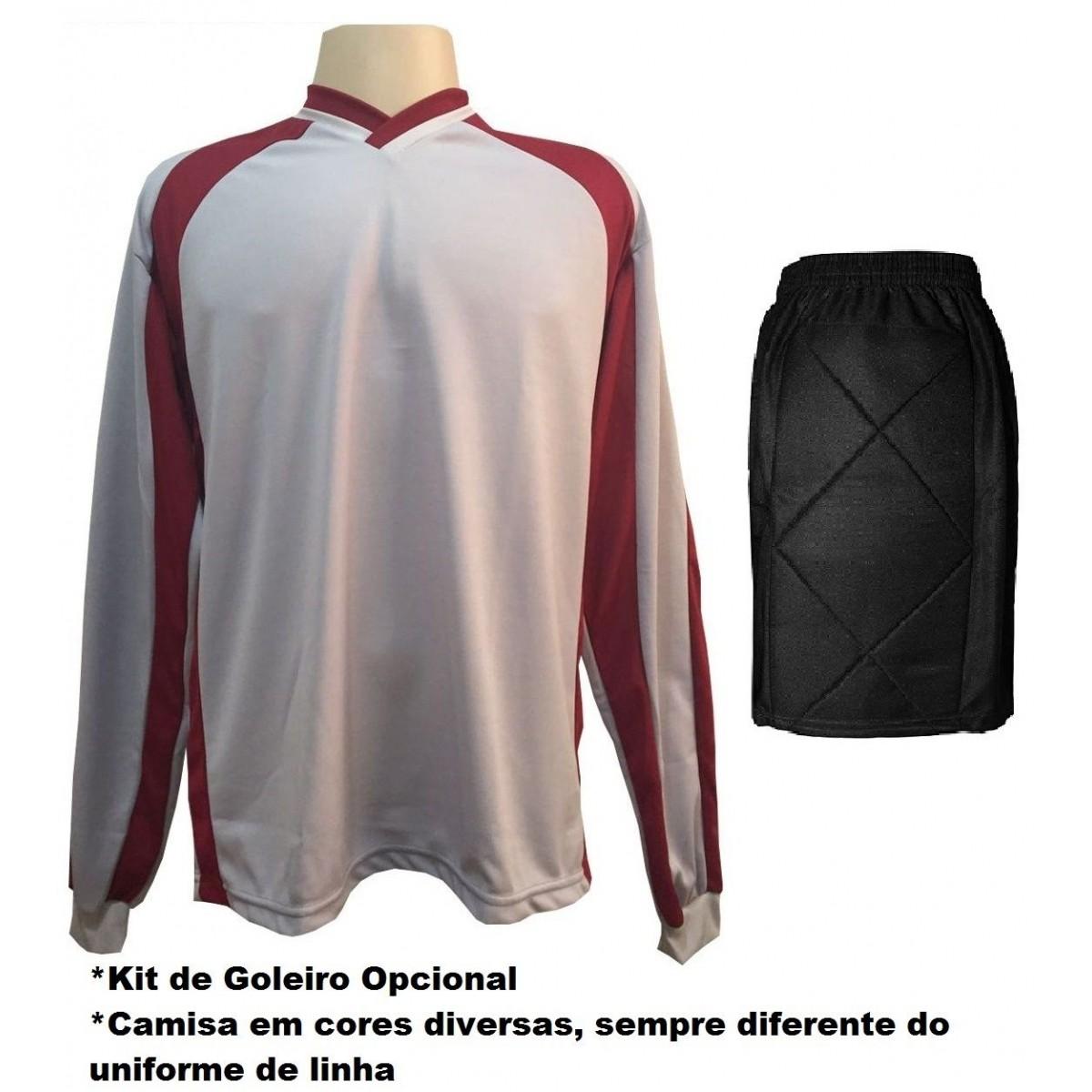 Uniforme Esportivo com 14 Camisas modelo Suécia Branco/Vermelho + 14 Calções modelo Madrid Branco + Brindes