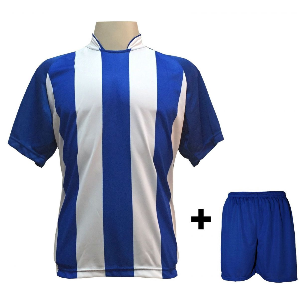 Uniforme Esportivo com 20 Camisas modelo Milan Royal/Branco + 20 Calções modelo Madrid Royal