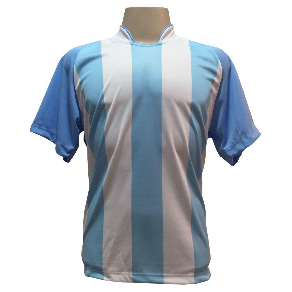 Uniforme Esportivo com 12 Camisas modelo Milan Celeste/Branco + 12 Calções modelo Madrid Marinho + 12 Pares de meiões Marinho