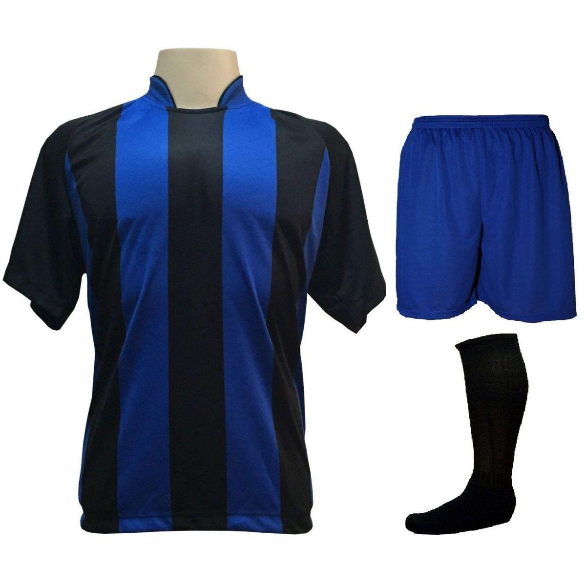 Uniforme Esportivo com 12 Camisas modelo Milan Preto Royal + 12 Calções  modelo Madrid Royal ... 42b586b947b91
