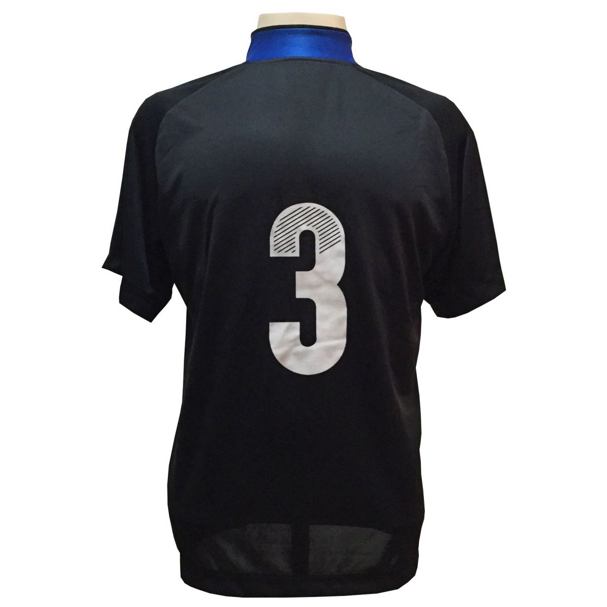 Uniforme Esportivo com 12 Camisas modelo Milan Preto/Royal + 12 Calções modelo Madrid Royal + 12 Pares de meiões Preto