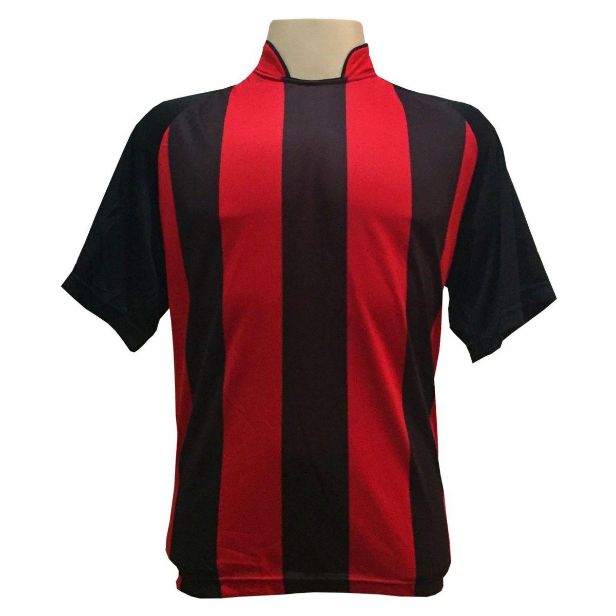 Uniforme Esportivo com 12 Camisas modelo Milan Preto/Vermelho + 12 Calções modelo Copa Preto/Vermelho + 12 Pares de meiões Vermelho