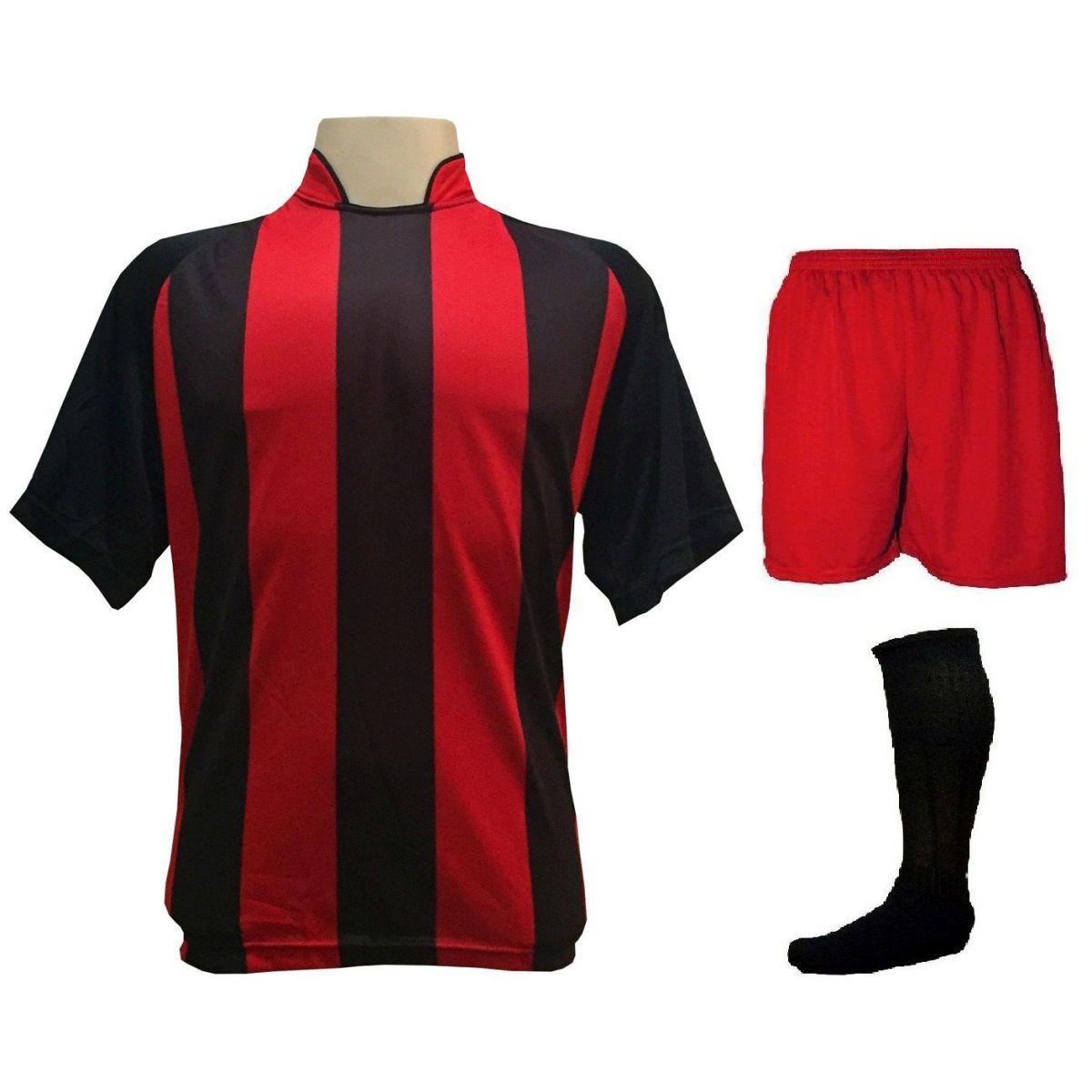 Uniforme Esportivo com 12 Camisas modelo Milan Preto/Vermelho + 12 Calções modelo Madrid Vermelho + 12 Pares de meiões Preto