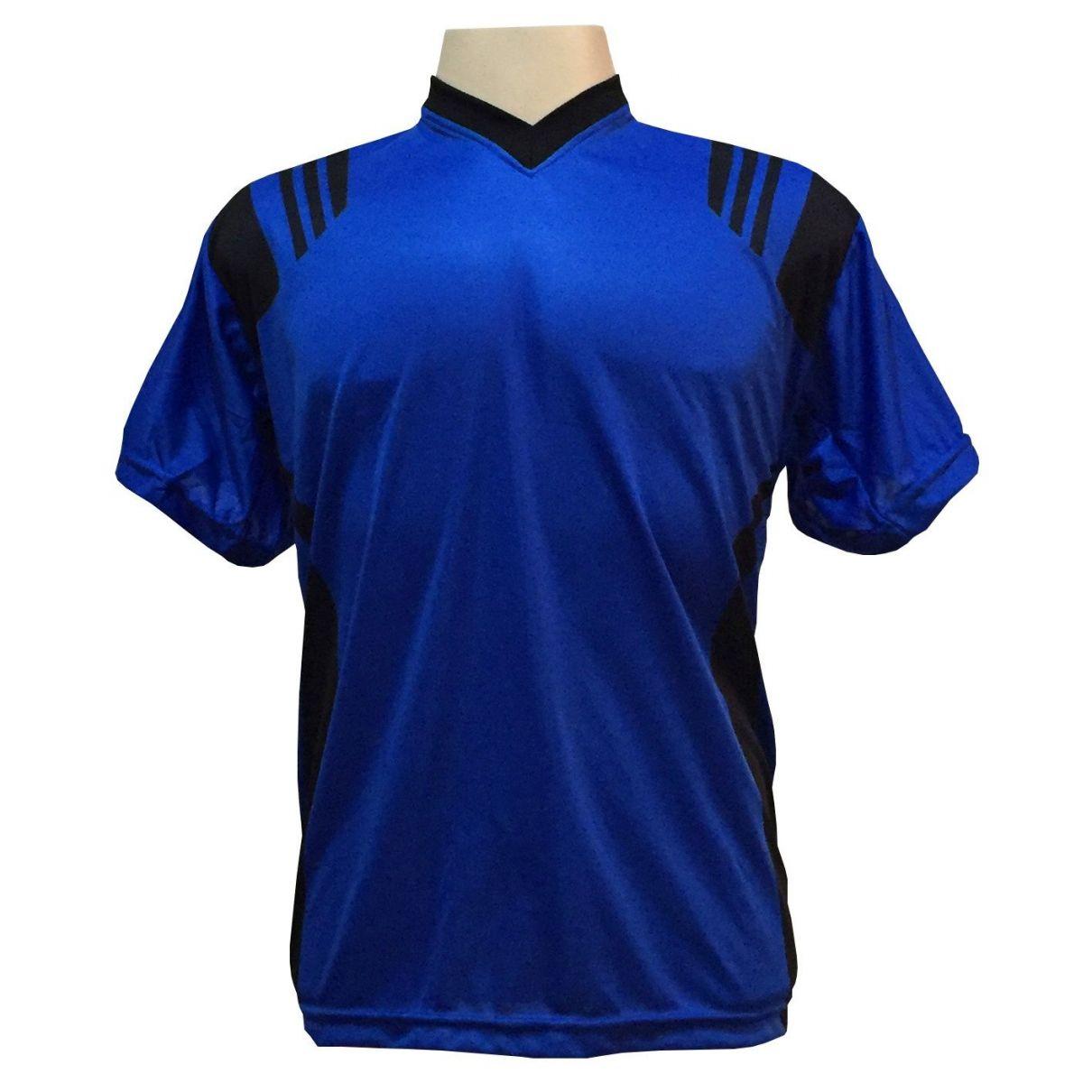 Uniforme Esportivo com 12 Camisas modelo Roma Royal/Preto + 12 Calções modelo Madrid Preto + 12 Pares de meiões Preto