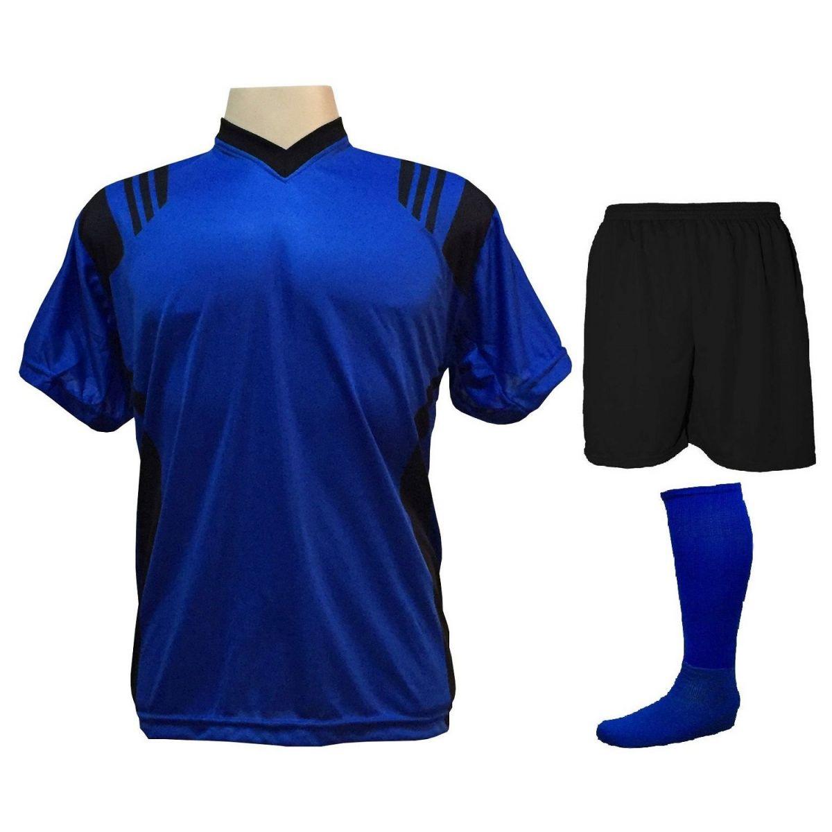 Uniforme Esportivo com 12 Camisas modelo Roma Royal/Preto + 12 Calções modelo Madrid Preto + 12 Pares de meiões Royal