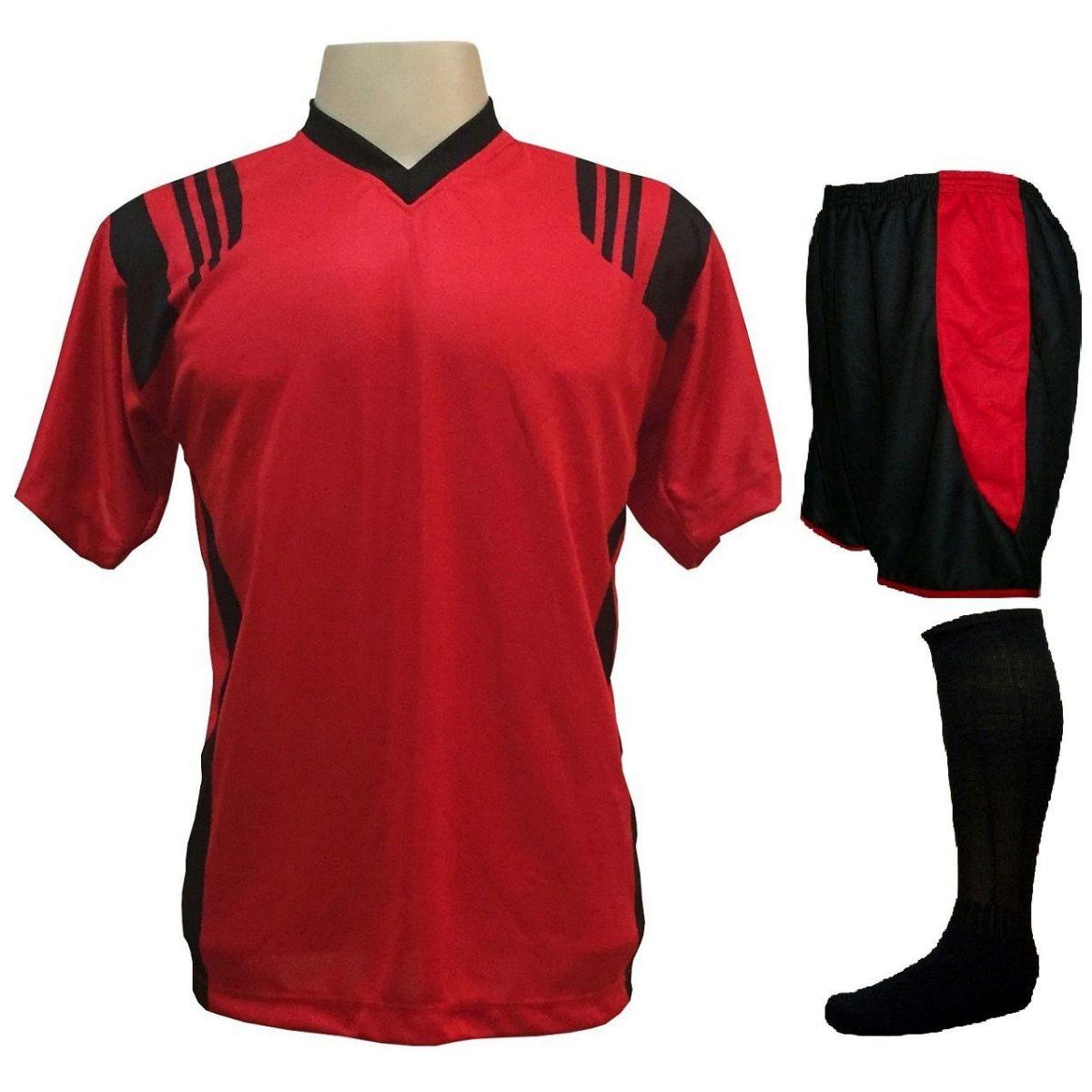 Uniforme Esportivo com 12 Camisas modelo Roma Vermelho/Preto + 12 Calções modelo Copa Preto/Vermelho + 12 Pares de meiões Preto   - ESTAÇÃO DO ESPORTE