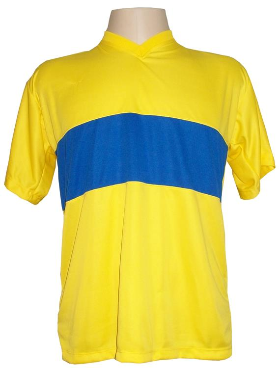 Uniforme Esportivo com 14 camisas modelo Boca Juniors Amarelo/Royal + 14 calções modelo Madrid Royal + 14 pares de meiões Amarelo