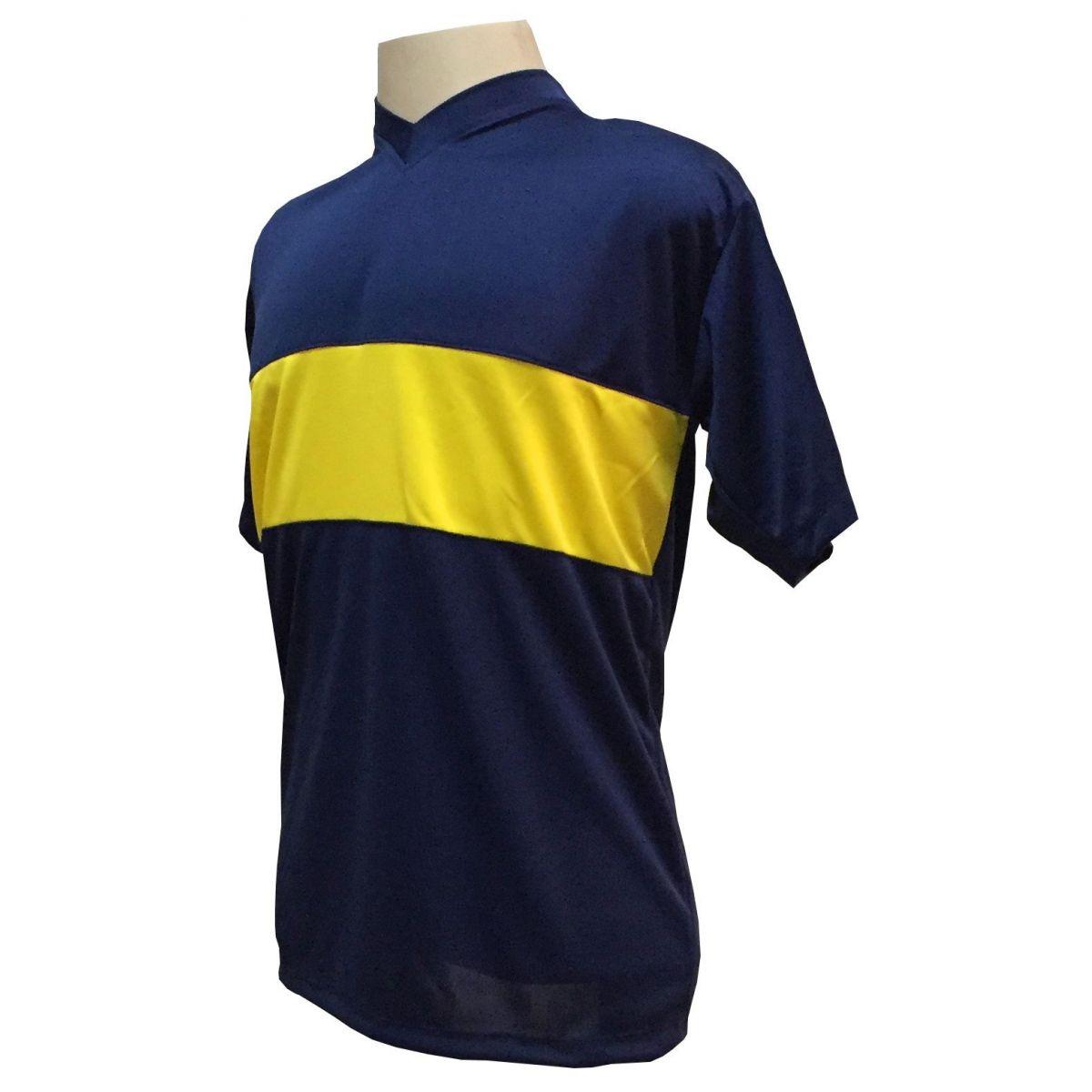 Uniforme Esportivo com 14 camisas modelo Boca Juniors Marinho/Amarelo + 14 calções modelo Madrid Marinho + 14 pares de meiões Marinho