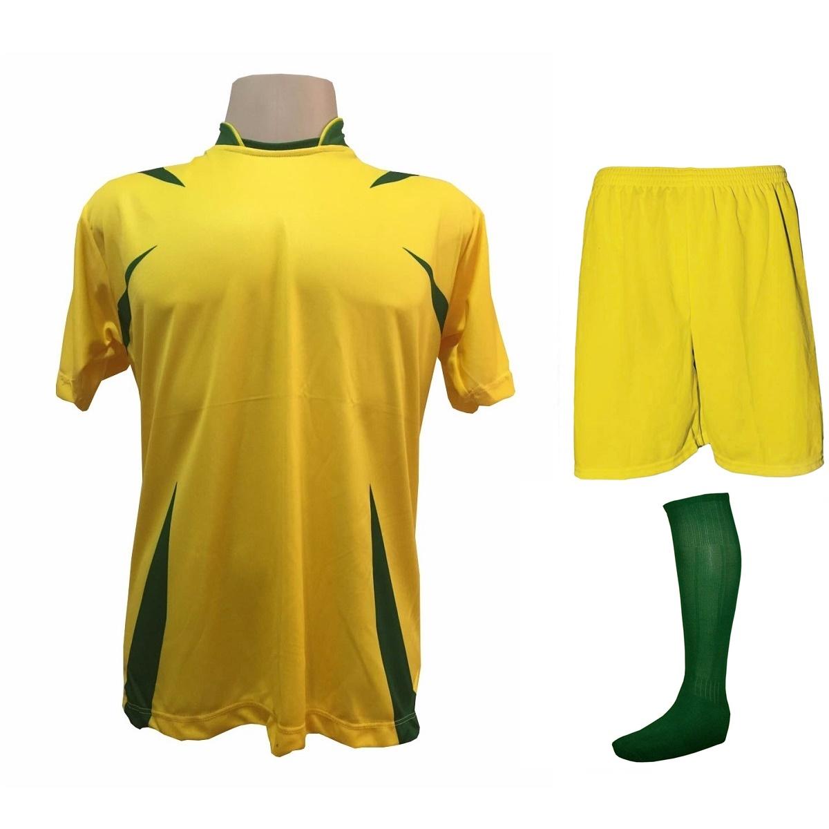 6191217216 Uniforme Esportivo com 14 camisas modelo Palermo Amarelo Verde + 14 calções  modelo Madrid Amarelo ...