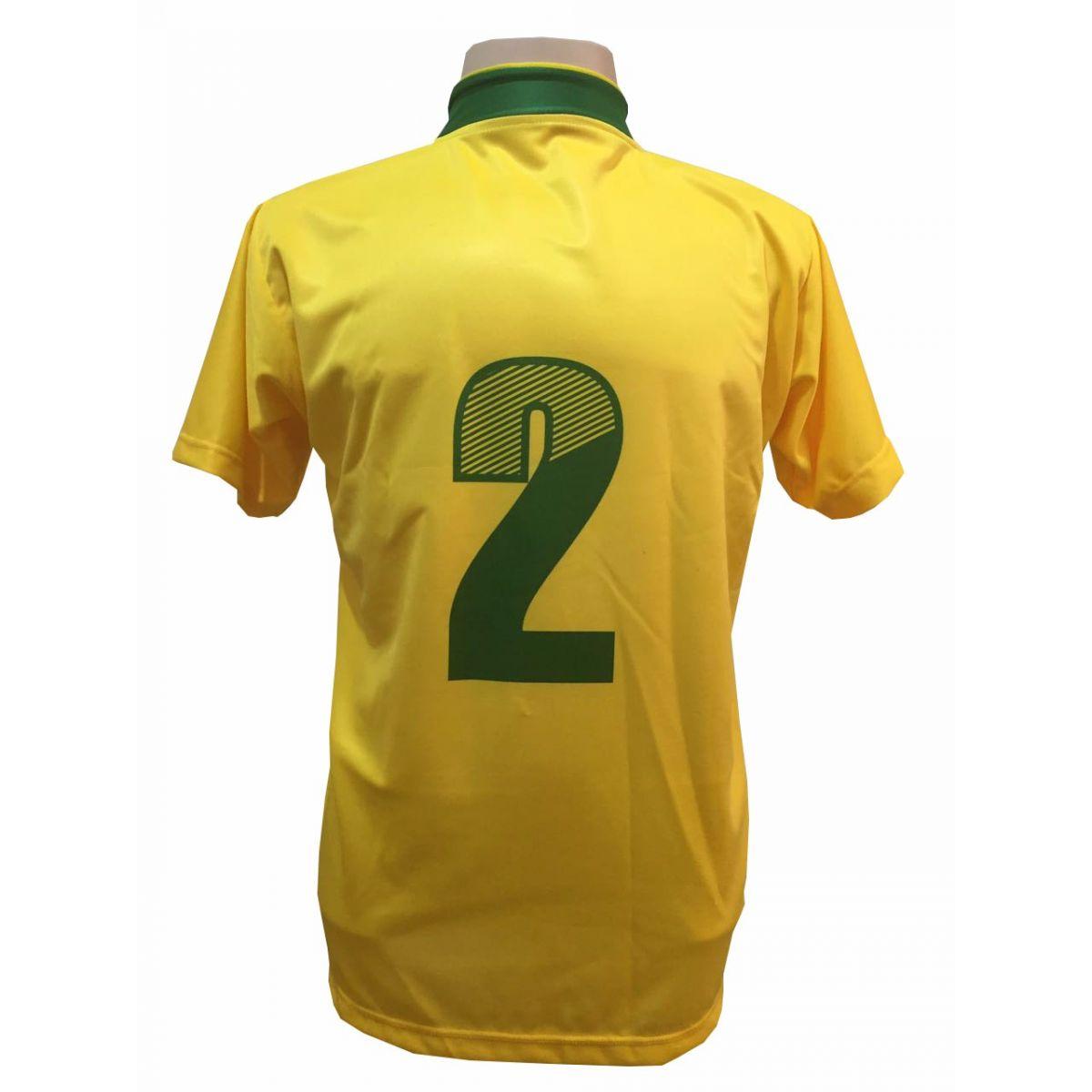 Uniforme Esportivo com 14 camisas modelo Palermo Amarelo/Verde + 14 calções modelo Madrid Verde + 14 pares de meiões Verde + Brindes