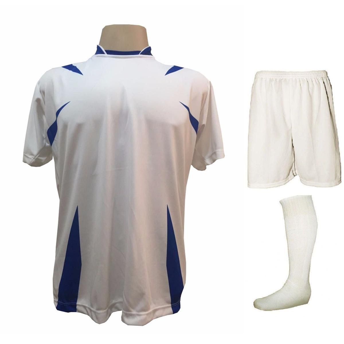 9eeb3eb3c8 Uniforme Esportivo com 14 camisas modelo Palermo Branco Royal + 14 calções  modelo Madrid Branco ...