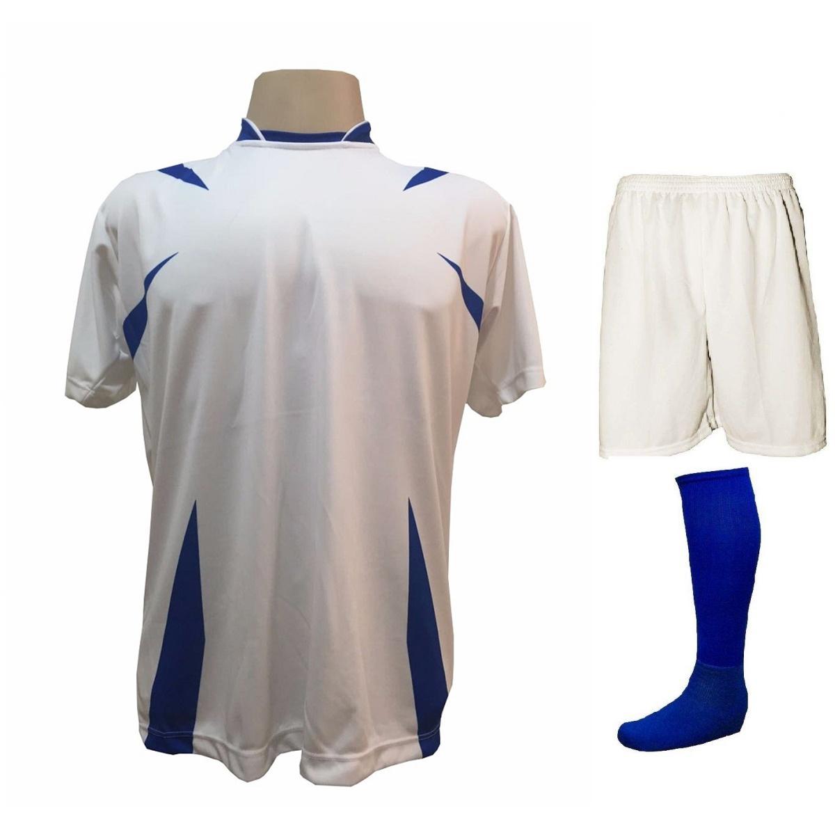 Uniforme Esportivo com 14 camisas modelo Palermo Branco/Royal + 14 calções modelo Madrid Branco + 14 pares de meiões Royal