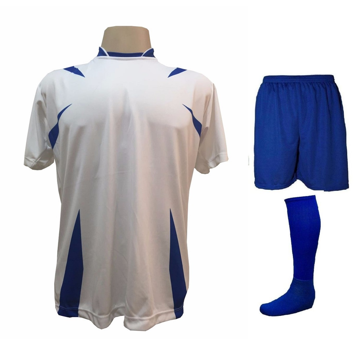 Uniforme Esportivo com 14 camisas modelo Palermo Branco/Royal + 14 calções modelo Madrid Royal + 14 pares de meiões Royal