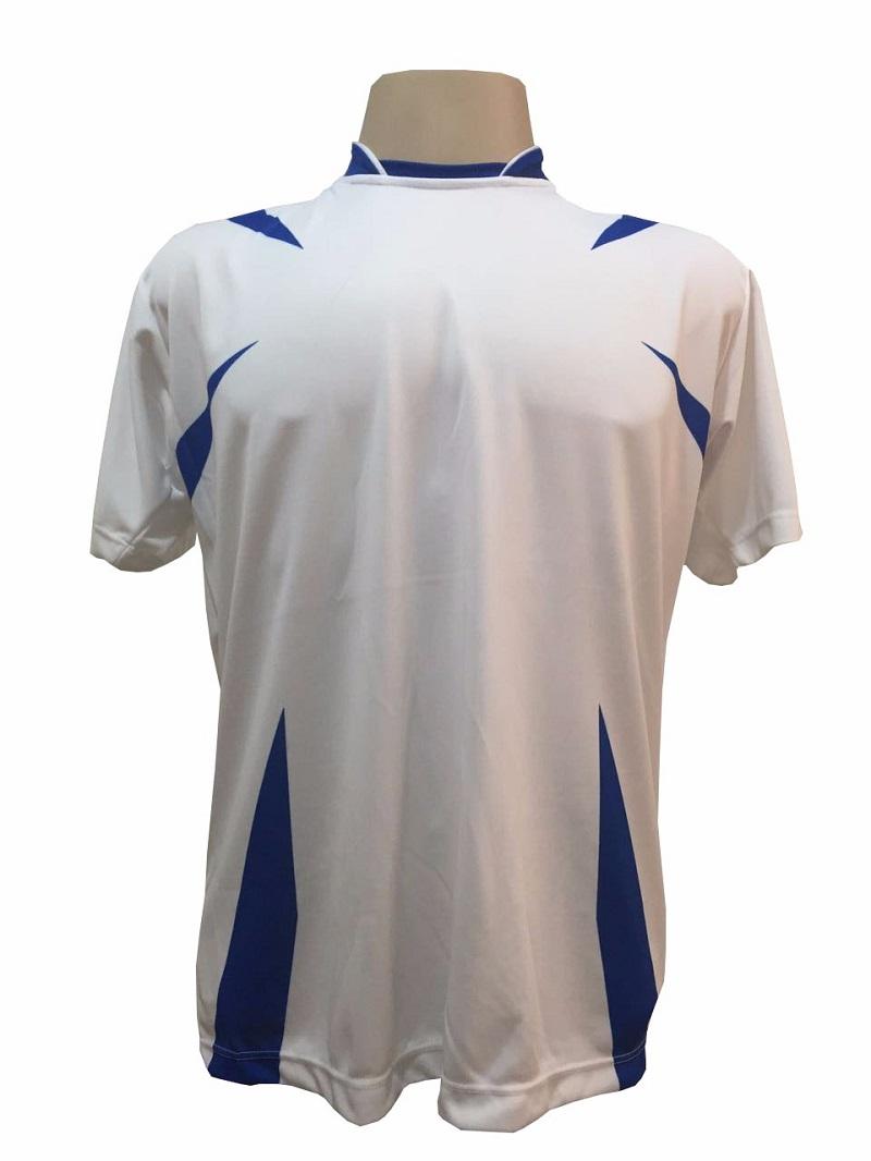 Uniforme Esportivo com 14 camisas modelo Palermo Branco/Royal + 14 calções modelo Madrid Royal + 14 pares de meiões Branco