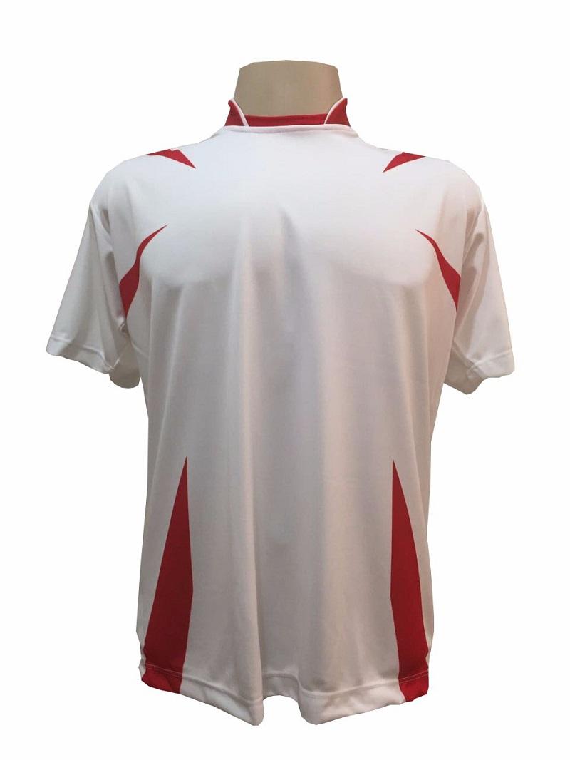 Uniforme Esportivo com 14 camisas modelo Palermo Branco/Vermelho + 14 calções modelo Madrid Branco + 14 pares de meiões Branco
