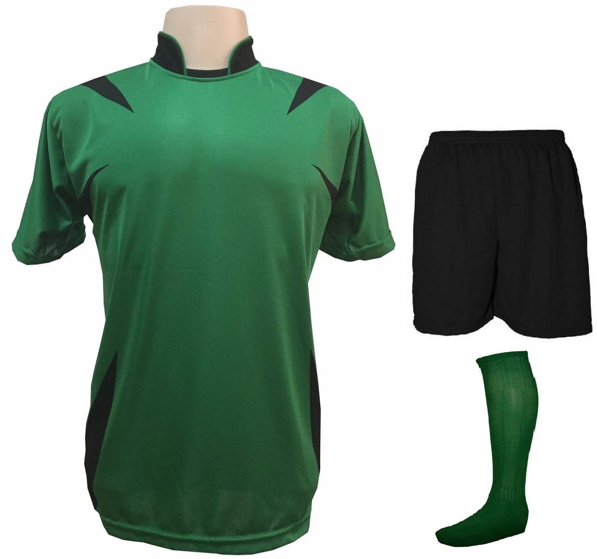 Uniforme Esportivo com 14 camisas modelo Palermo Verde Preto + 14 calções  modelo Madrid Preto ... a8d2db09ade94