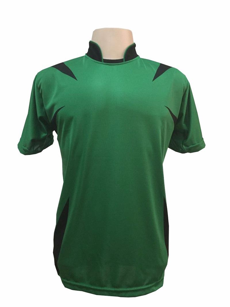 Uniforme Esportivo com 14 camisas modelo Palermo Verde/Preto + 14 calções modelo Madrid Preto + 14 pares de meiões Preto