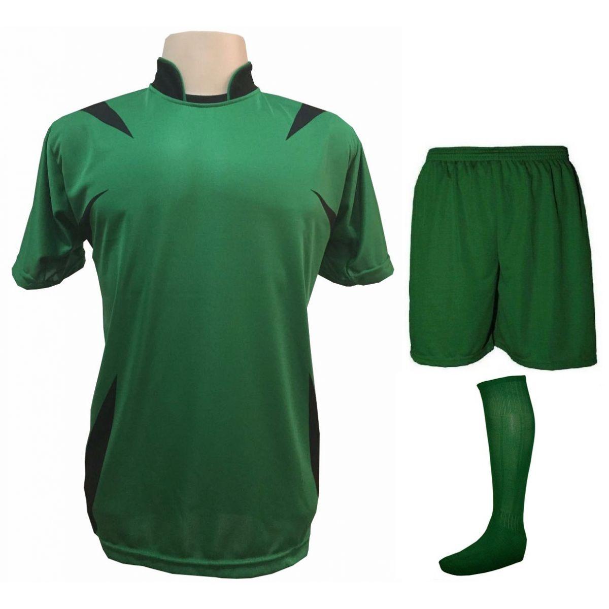 a41ba4db8c Uniforme Esportivo com 14 camisas modelo Palermo Verde Preto + 14 calções  modelo Madrid Verde