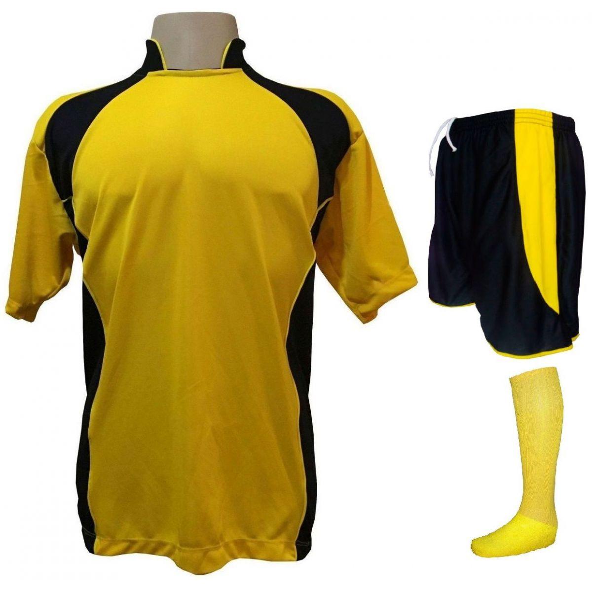 Uniforme Esportivo com 14 camisas modelo Suécia Amarelo Preto + 14 calções  modelo Copa Preto ... 74dfbe586877c
