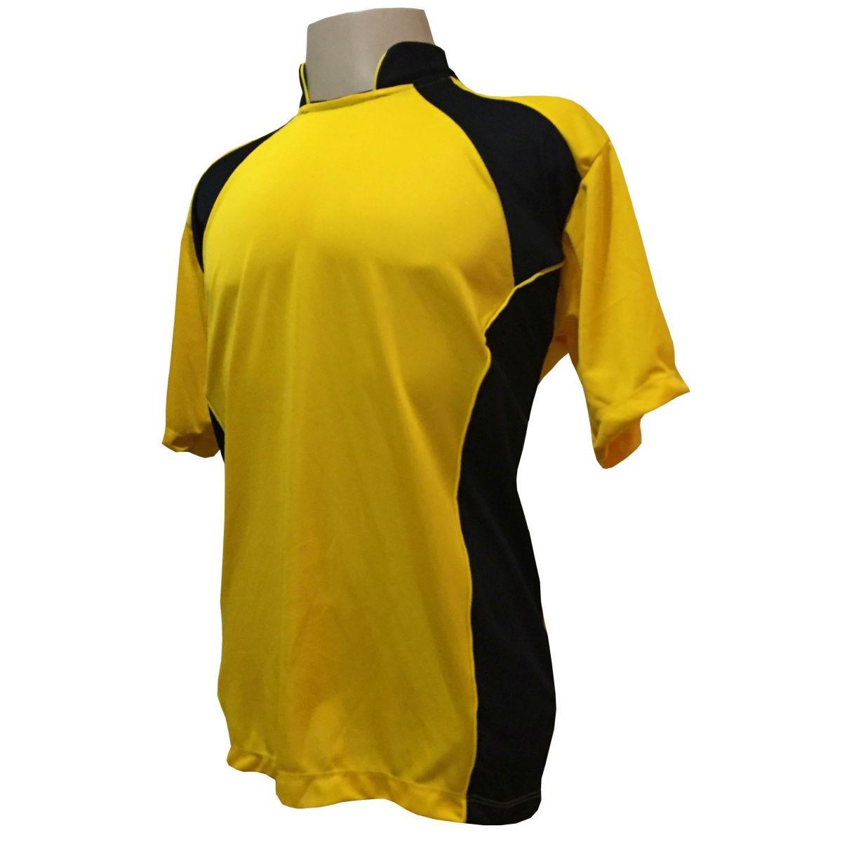 Uniforme Esportivo com 14 camisas modelo Suécia Amarelo/Preto + 14 calções modelo Copa Preto/Amarelo + 14 pares de meiões Preto