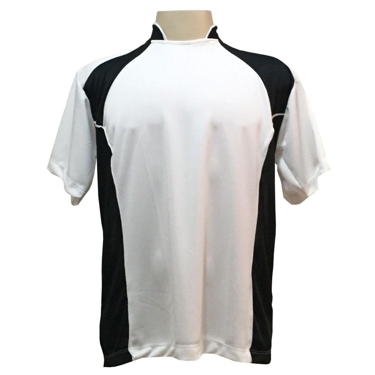 Uniforme Esportivo com 14 camisas modelo Suécia Branco/Preto + 14 calções modelo Madrid Preto + 14 pares de meiões Branco