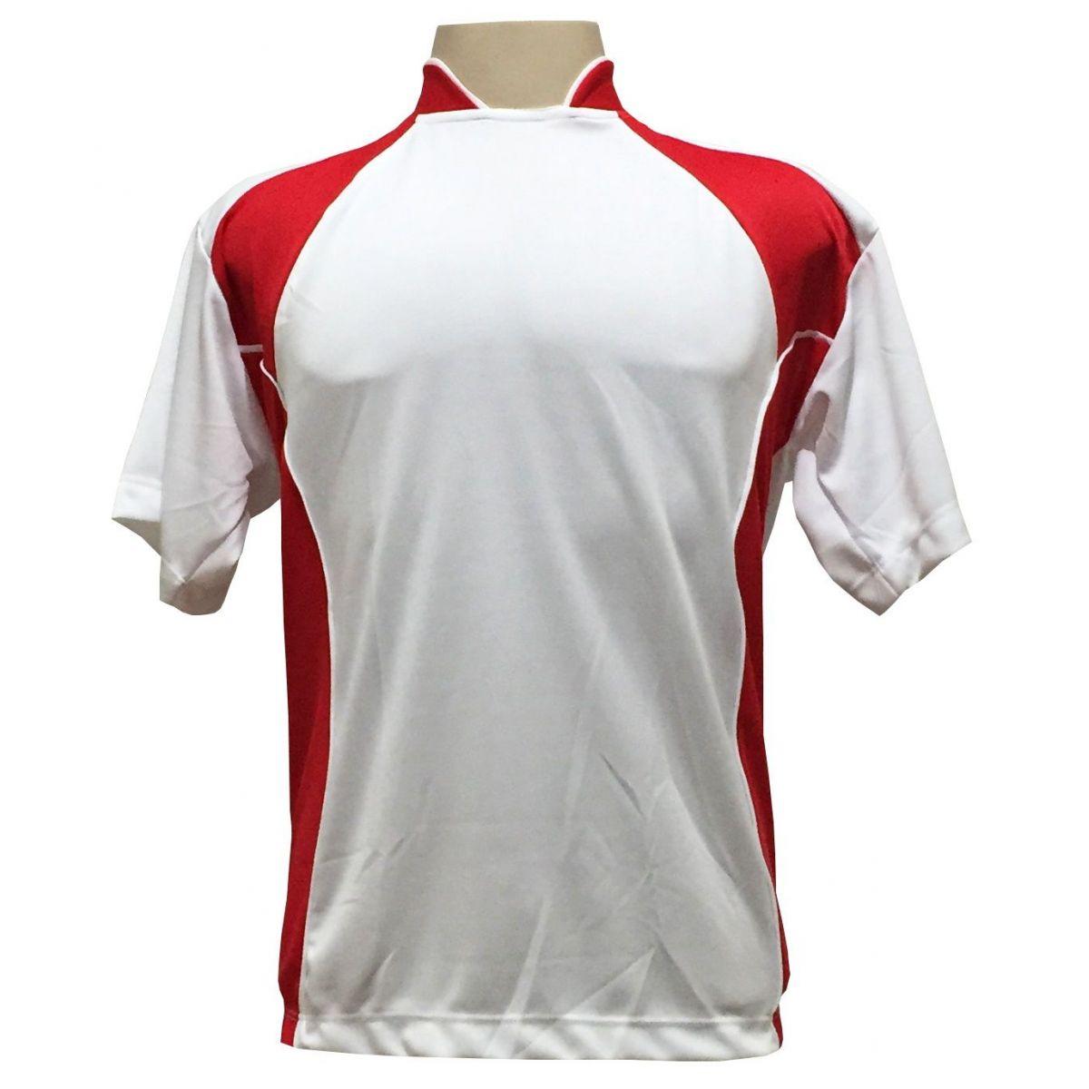 Uniforme Esportivo com 14 camisas modelo Suécia Branco/Vermelho + 14 calções modelo Madrid Branco + 14 pares de meiões Branco