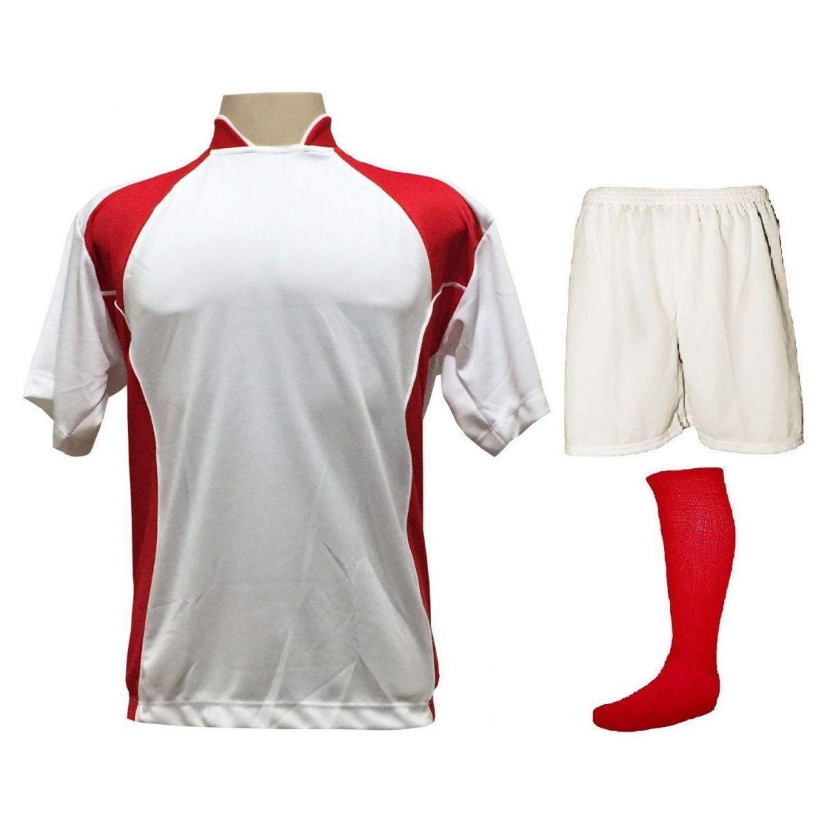 88a3e4a7d1 Uniforme Esportivo com 14 camisas modelo Suécia Branco Vermelho + 14  calções modelo Madrid Branco ...