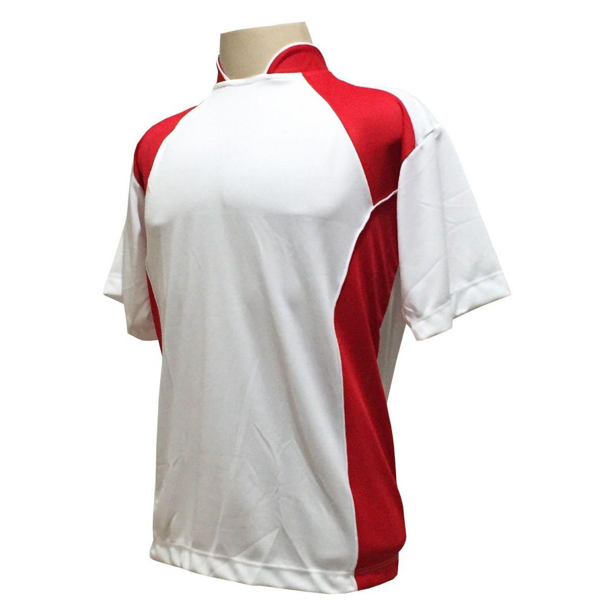 Uniforme Esportivo com 14 camisas modelo Suécia Branco/Vermelho + 14 calções modelo Madrid Branco + 14 pares de meiões Vermelho