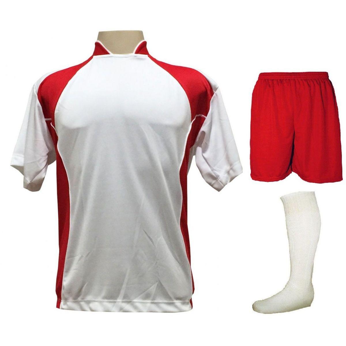 Uniforme Esportivo com 14 camisas modelo Suécia Branco/Vermelho + 14 calções modelo Madrid Vermelho + 14 pares de meiões Branco