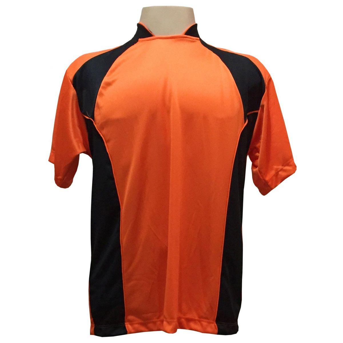 Uniforme Esportivo com 14 camisas modelo Suécia Laranja/Preto + 14 calções modelo Madrid Preto + 14 pares de meiões Laranja