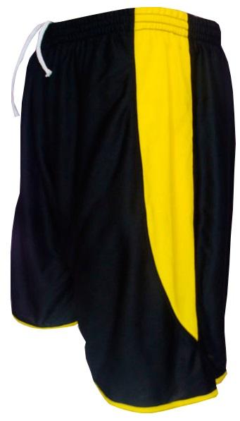 Uniforme Esportivo com 14 camisas modelo Suécia Preto/Amarelo + 14 calções modelo Copa Preto/Amarelo + 14 pares de meiões Amarelo
