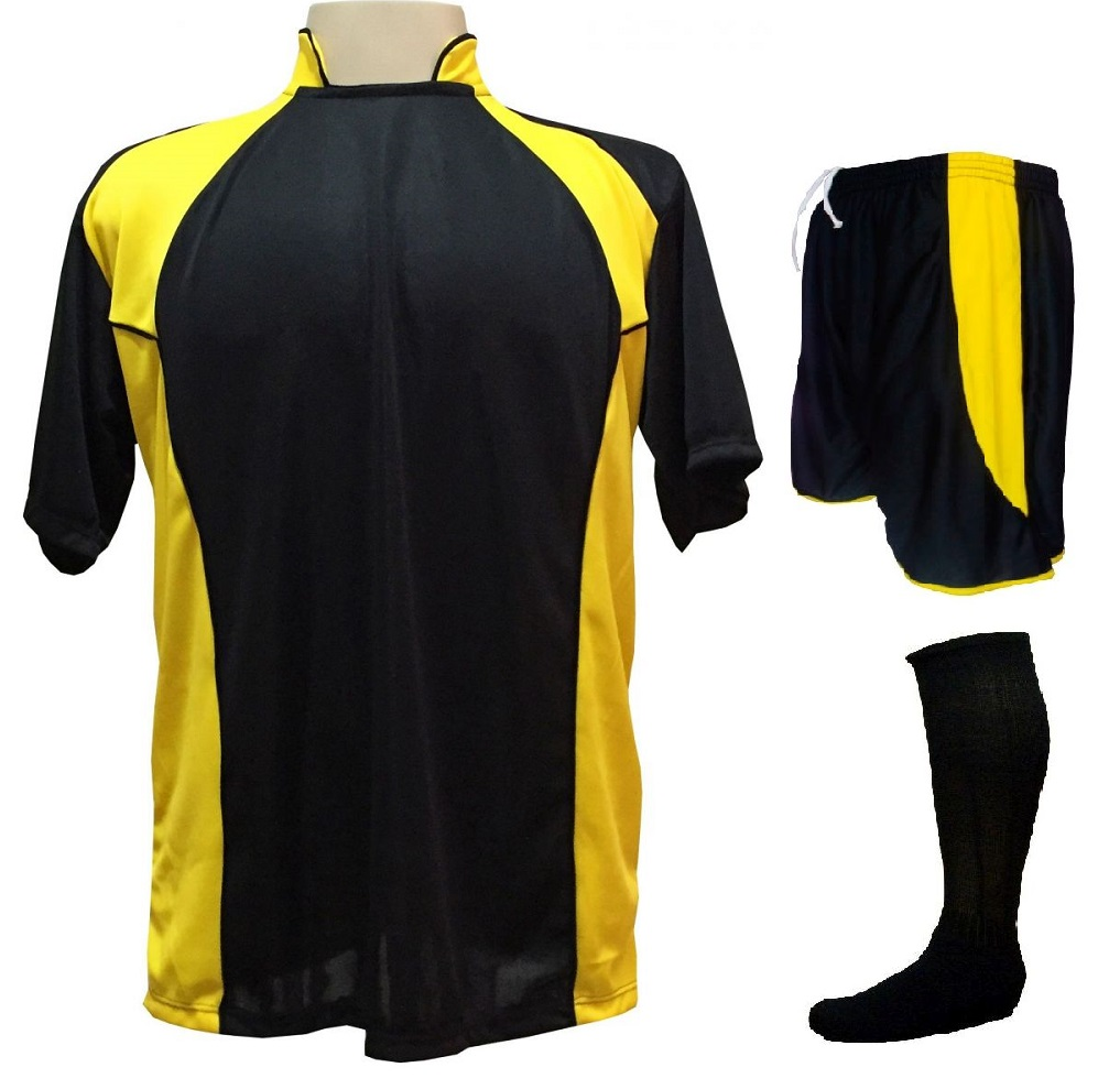 Uniforme Esportivo com 14 camisas modelo Suécia Preto/Amarelo + 14 calções modelo Copa Preto/Amarelo + 14 pares de meiões Preto
