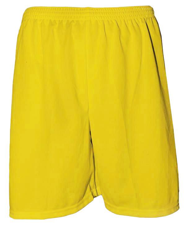 Uniforme Esportivo com 14 camisas modelo Suécia Preto/Amarelo + 14 calções modelo Madrid Amarelo + 14 pares de meiões Amarelo