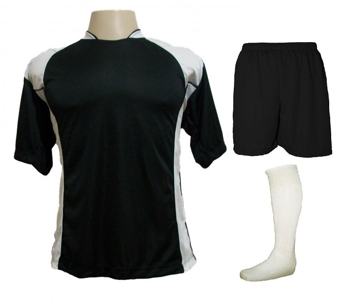 Uniforme Esportivo com 14 camisas modelo Suécia Preto Branco + 14 calções  modelo Madrid Preto ... a8e3df870893f