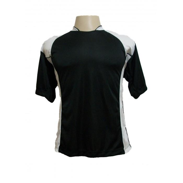 b1623e7d63 ... Uniforme Esportivo com 14 camisas modelo Suécia Preto Branco + 14  calções modelo Madrid Preto ...